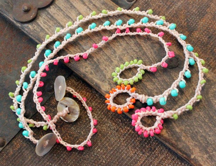 Crocheted Anklet / Bracelet Set of 3 - Ever Designs Jewelry