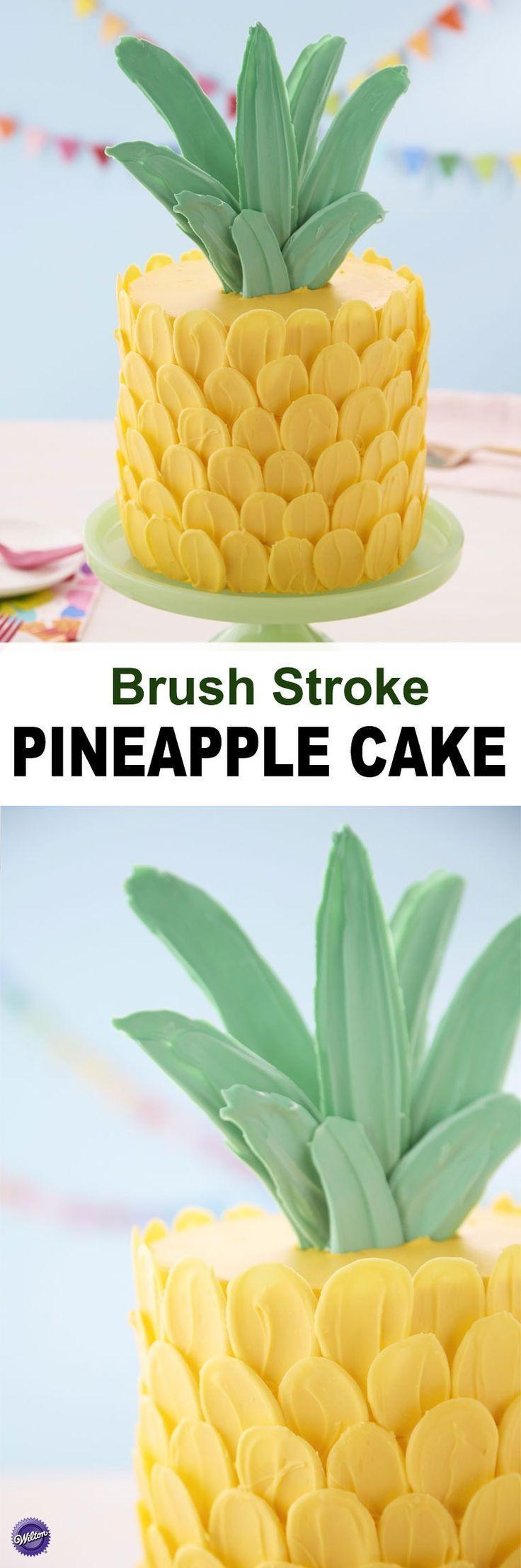 Pinselstrich-Ananas-Kuchen #ananas #kuchen #pinselstrich  – Geburtstagskuchen