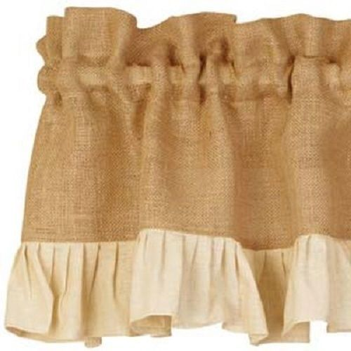 Country Primitive Cream Ruffled Burlap Valance Rustic