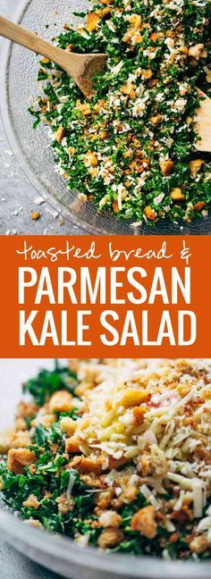 This is THE BEST Kale Salad! Lots of shredded kale, Parmesan cheese, homemade breadcrumbs, and a lemon olive oil dressing. So simple, SO GOOD.