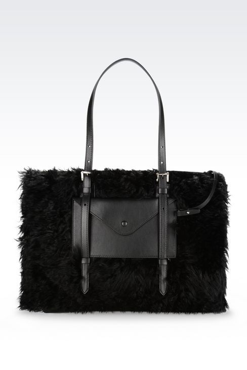 TOTE BAG IN GOAT MOHAIR: Shoppers Women by Armani - 1