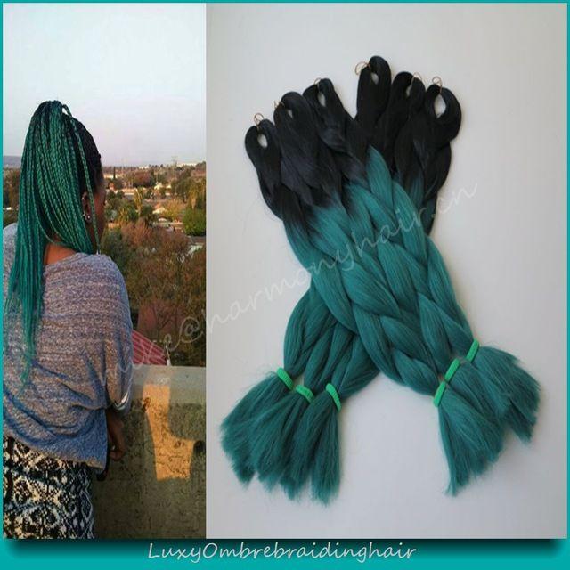 "8pcs 24"" Black&Petrol Blue TealGreen Ombre Two Tone Kanekalon Jumbo Braid Synthetic Hair for Dreadlocks Crochet Twist Box Braids"