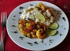 Mazzancolle al curry e ananas con riso basmati