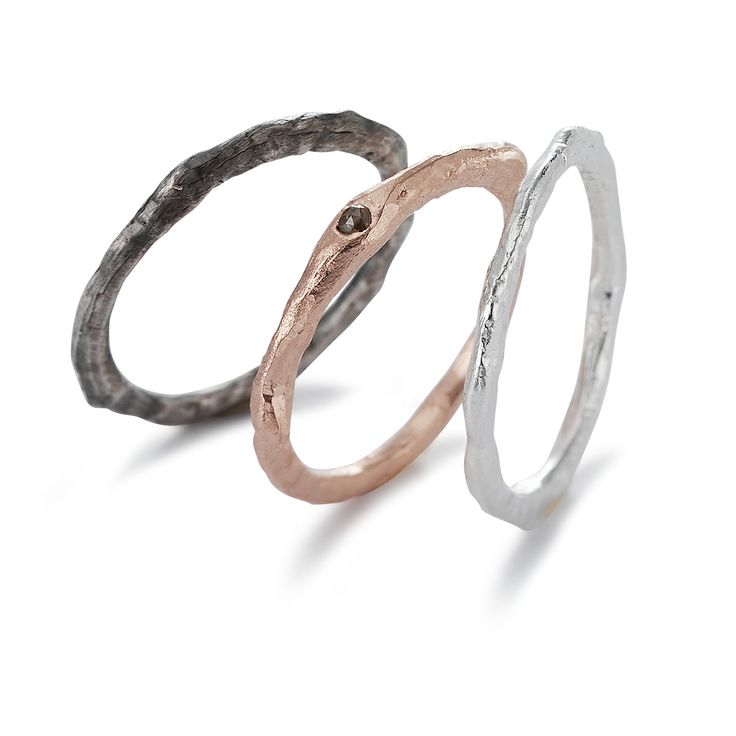 STACK OF THREE Rings with 1 rosecut diamond from BJORG jewellery