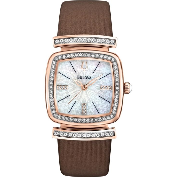 Bulova Women's 98L184 Stainless Steel and Crystal Watch with a Etched Dial
