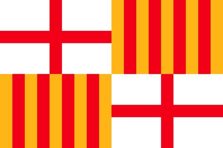 La descripció oficial de la bandera actual és la següent: Bandera apaïsada, de proporcions dos d'alt per tres de llarg, quarterada en creu, amb una creu plena vermella, de gruix 1/18 de la llargària del drap, als quarters primer i quart, blancs;