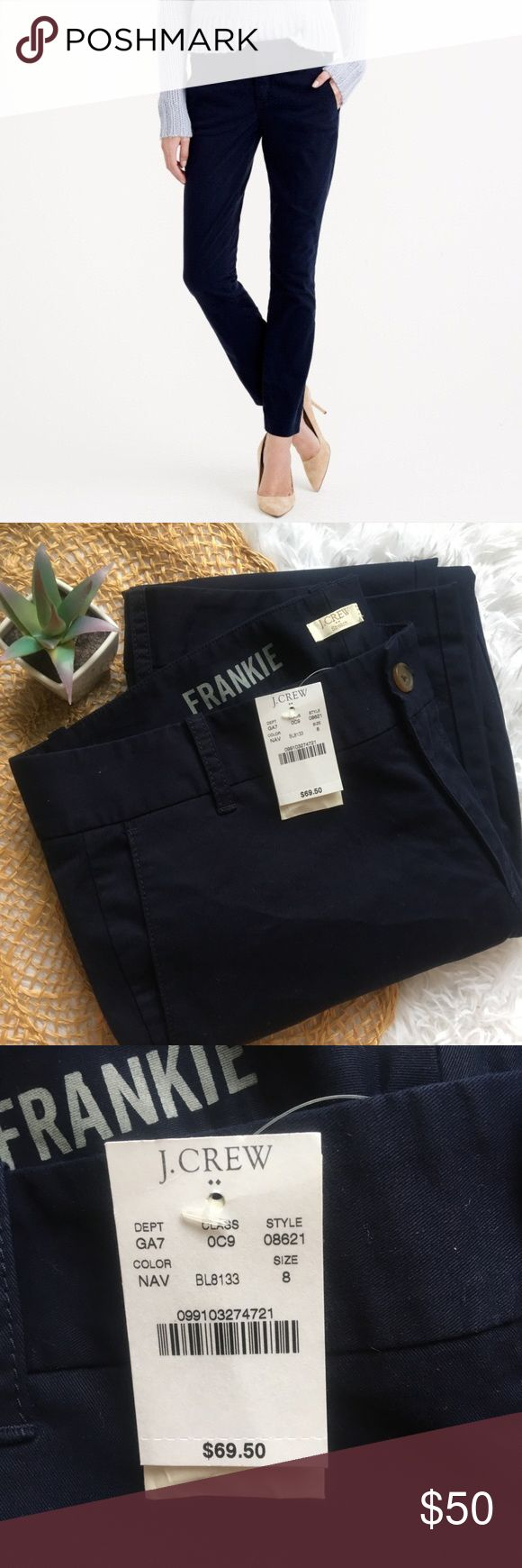 NWT J. Crew Frankie Stretch Navy Blue Chinos NWT J. Crew Frankie Stretch Navy Blue Chinos Bundle 3+ items and receive 20% off your entire purchase!   No trades, no holds, no returns (unless it's Poshmark approved.) J. Crew Pants Trousers