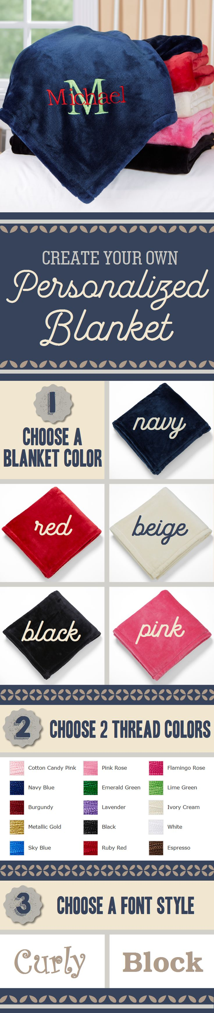 These personalized blankets are the best! They come with so many options! You can choose the blanket color, and 2 thread colors and the font and they'll embroider any name and initial - such a great gift for kids! They can snuggle up with this embroidered kids blanket or take it on sleepovers! Great gift idea!