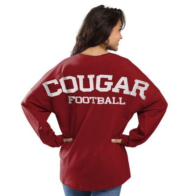 Washington State Cougars Women's Football Sweeper Long Sleeve Oversized Top - Crimson
