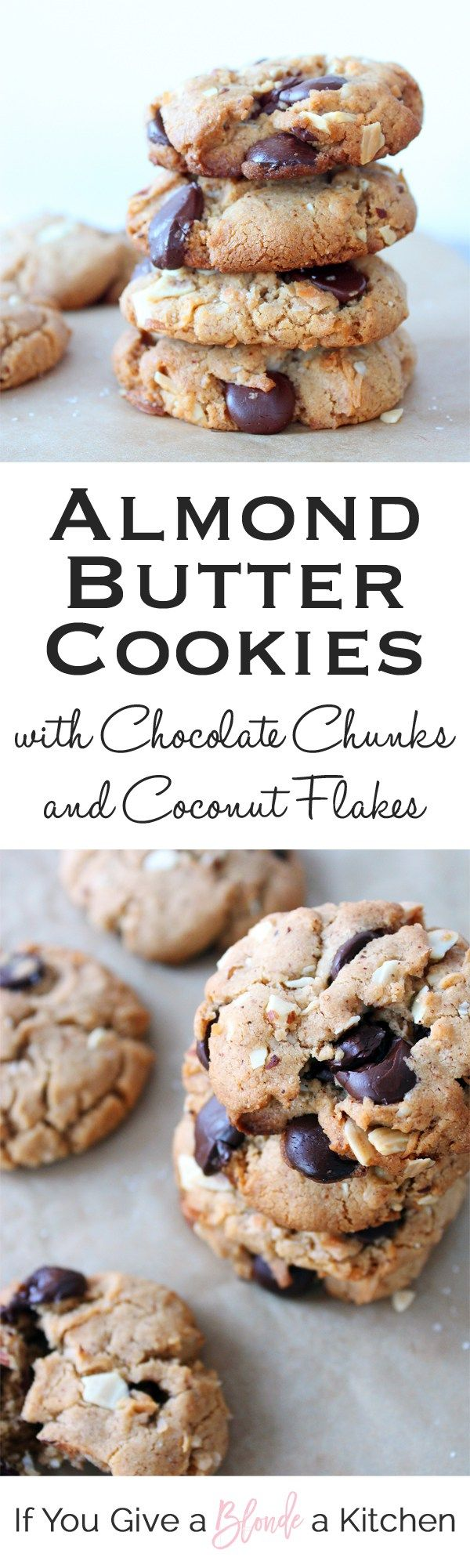 These almond butter cookies are so good!! They have coconut flakes and chocolate chips. YUM! | Recipe by @haleydwilliams