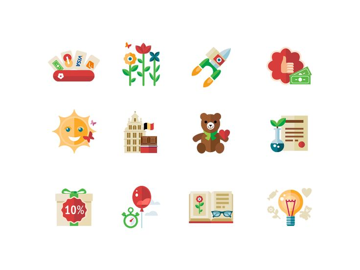 Some icons for the online-shop who sell flowers, teddy bears, baloons, and sweets.