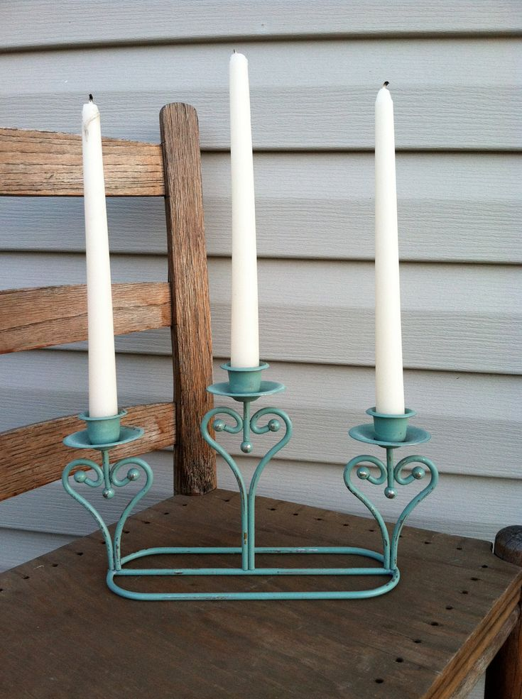 Green country french triple candleholder beach decor for French beach decor