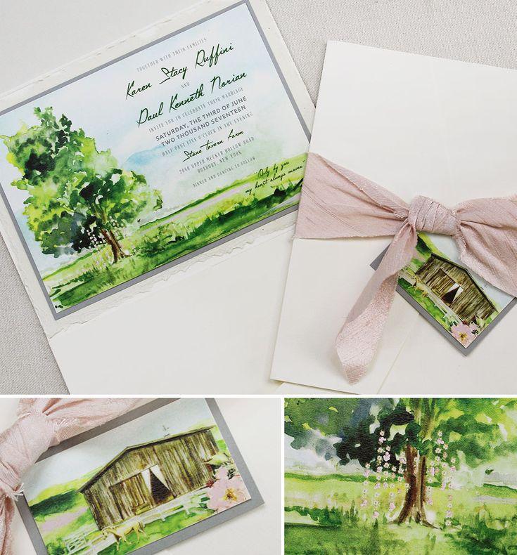 lotus flower wedding invitations%0A Karen R   Watercolor Floral and Landscape Wedding Invitations