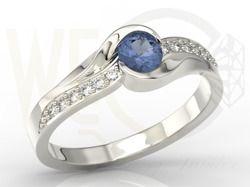 Pierścionek z białego złota z szafirem i cyrkoniam / Ring made from white gold with sapphires and zircons/ 1 386 PLN #engagament #jewellery #ring