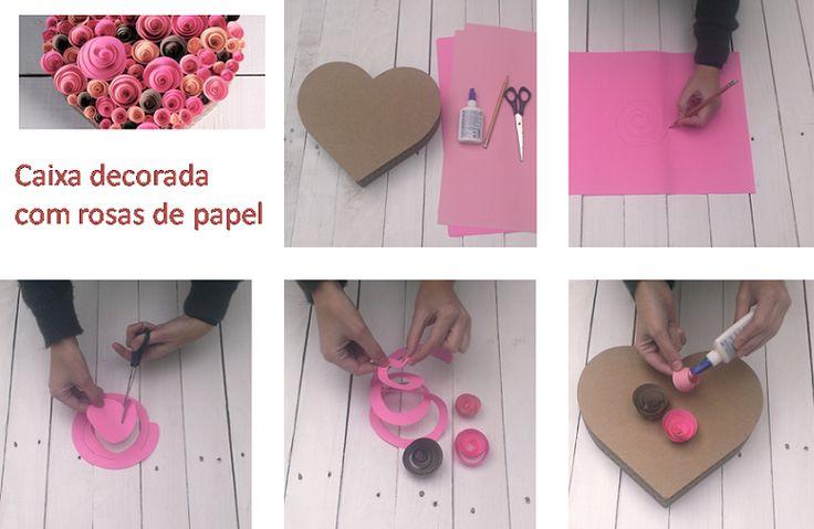 Como decorar caixa de presente com rosas de papel para Dia dos Namorados - Artesanato super fácil ~ VillarteDesign Artesanato