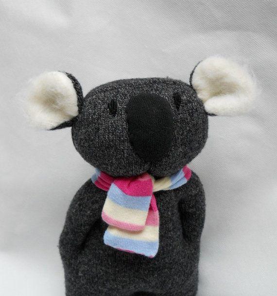 Koala Sock.  Take an old gray sock and turn it into a lovable little koala.