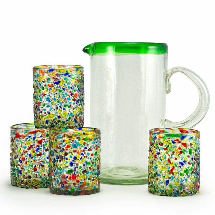 Jubilee Recycled Glass Refreshment Set  $34.00  Perfect for entertaining! Our colorful Jubilee Recycled Glass Refreshment Set will liven up ...: Glasses Refreshing, Recycled Glasses, Jubil Recycled, Drinks Glasses, Glasses 491562872, Tumblers Glasses, Confetti Recycled, Glasses Ware, Recycled Tumblers