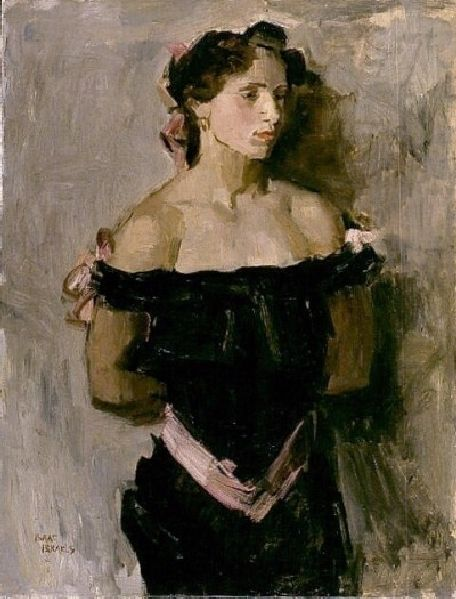 'Lady in black evening dress', c. 1917 - Isaac Israels...