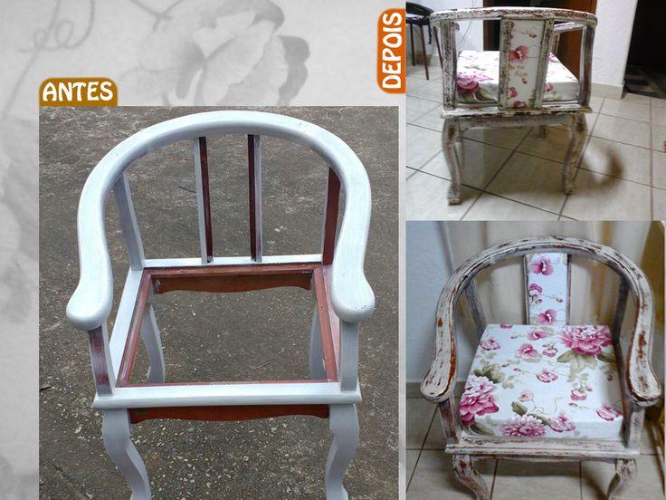 Cadeira em processo de texturizaçâo e finalizada em patina envelhecida e estofado em tecido jacquard..