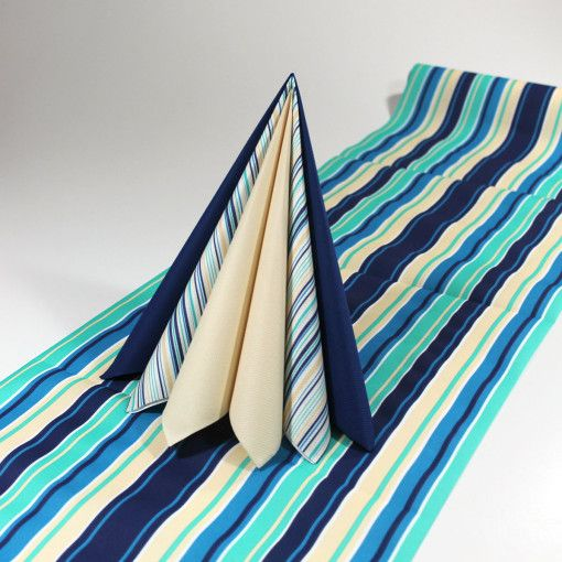 Inspiration til blå og sandfarvet borddækning  #Tekstilservietter #BlåStudent