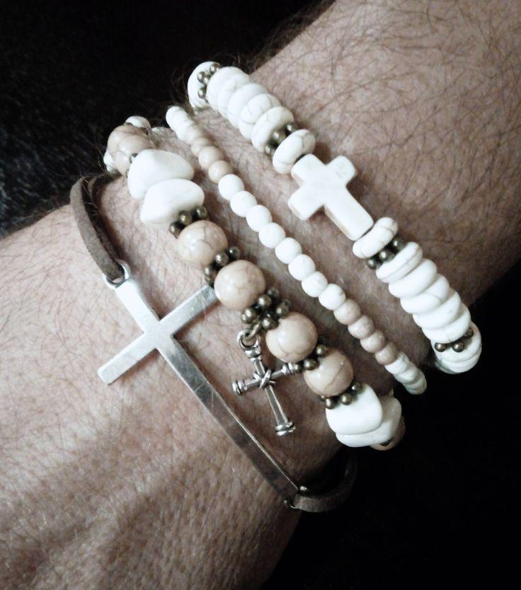 Men's beaded / leather bracelet