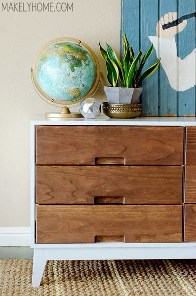 DIY Crate and Barrel Midcentury Modern Inspired Dresser via MakelyHome.com