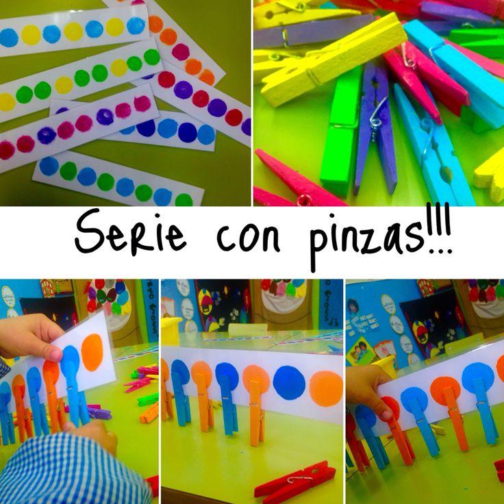 Fácil y económico! Pinzas de la ropa pintadas con temperas y tiras de series para trabajar la logicomatematica, la aprensión, el agarre del lápiz y psicomotricidad fina!