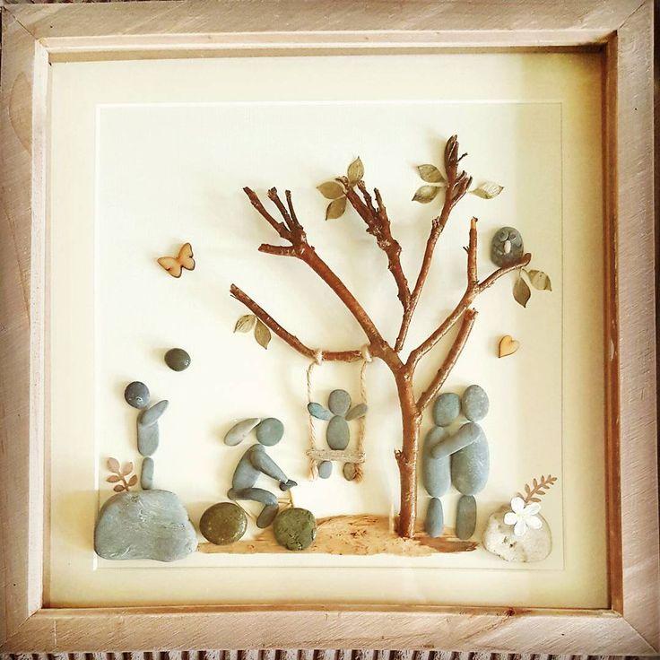 Family time outdoors pebble art ❤ #familytimes #pebbleartpiece #pebblesart #pebbles #childrenplaying #childreninthegarden #pictures #handmade #handmadepebbles