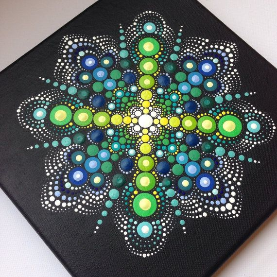 Original Dotart Green Mandala Painting on by CreateAndCherish