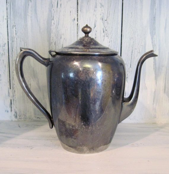 Vintage F. B. Roger Silver Co. silver plated copper pitcher tea pot, retro rustic silver plated copper teapot pitcher, rustic pitcher teapot by HTArtcraftAndVintage, $54.99