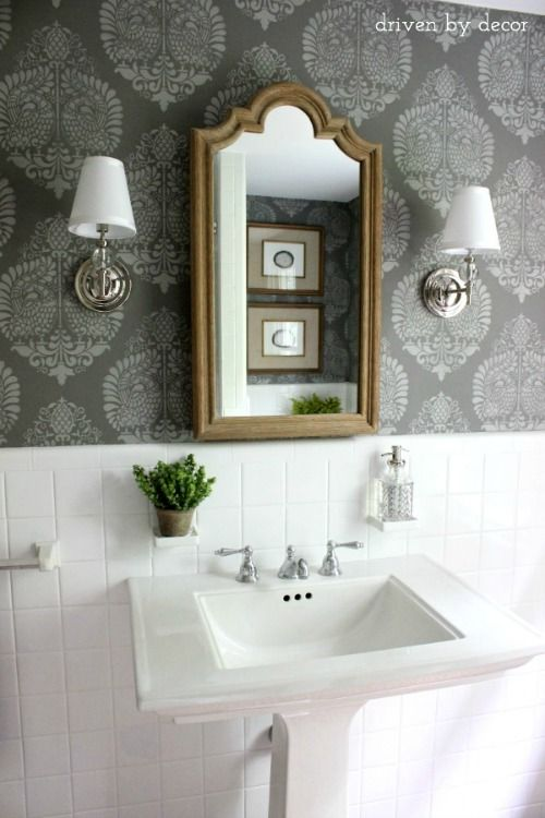 Stenciled wall in Benjamin Moore Chelsea Gray HC-168 - dark gray paint for walls