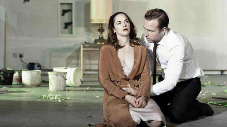Ruth Wilson and Rafe Spall in Hedda Gabler, National Theatre. March 2016.