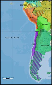 The War of the Pacific (Spanish: Guerra del Pacífico) was fought in western South America, between Chile and a united Bolivia and Peru, from 1879 through 1883.