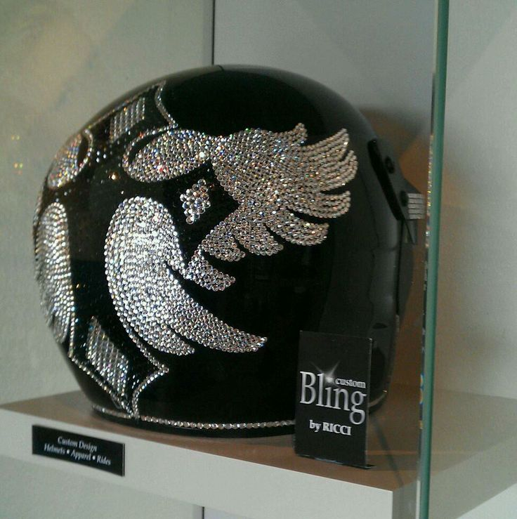 Bling your Lady's Motorcycle Helmet to match your ride. We use Genuine Swarovski Crystals for the best sparkle and shine. Create your own design for your helmet or let us do it for you. Sparkle up your day with Custom Bling by Ricci~  Stunning white & jet black Genuine Swarovski Crystal. Full Face DOT In Stock and ready to ship. Slightly Used, Size Small $650