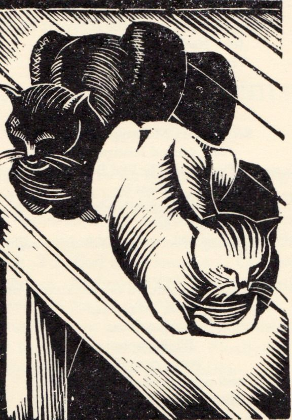 """Cats"" by John Nash (wood engraving)"