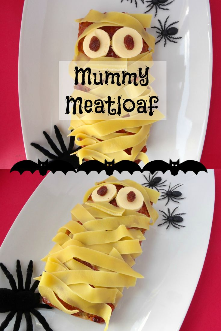 Mummy Meatloaf Halloween Recipe - a cute and fun dinner idea to serve up on Halloween! Simply make your favourite meatloaf, decorate with pasta bandages and finish it off with cheesy eyes! Click on the image for my favourite meatloaf recipe. | www.pinkrecipebox.com