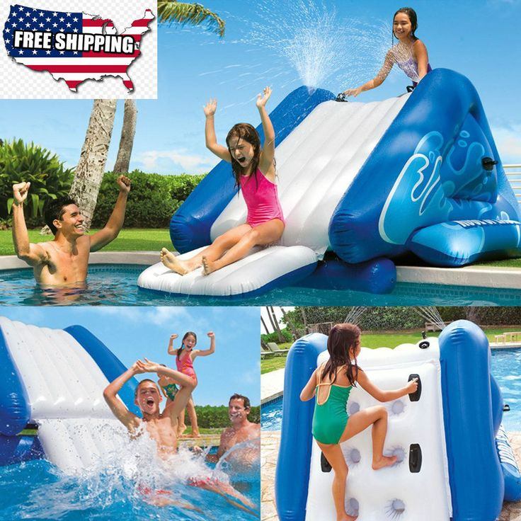 Kids Inflatable Waterslide Swimming Pool Play Center with Sprayer Water Toys NEW #KidsInflatableWaterslide