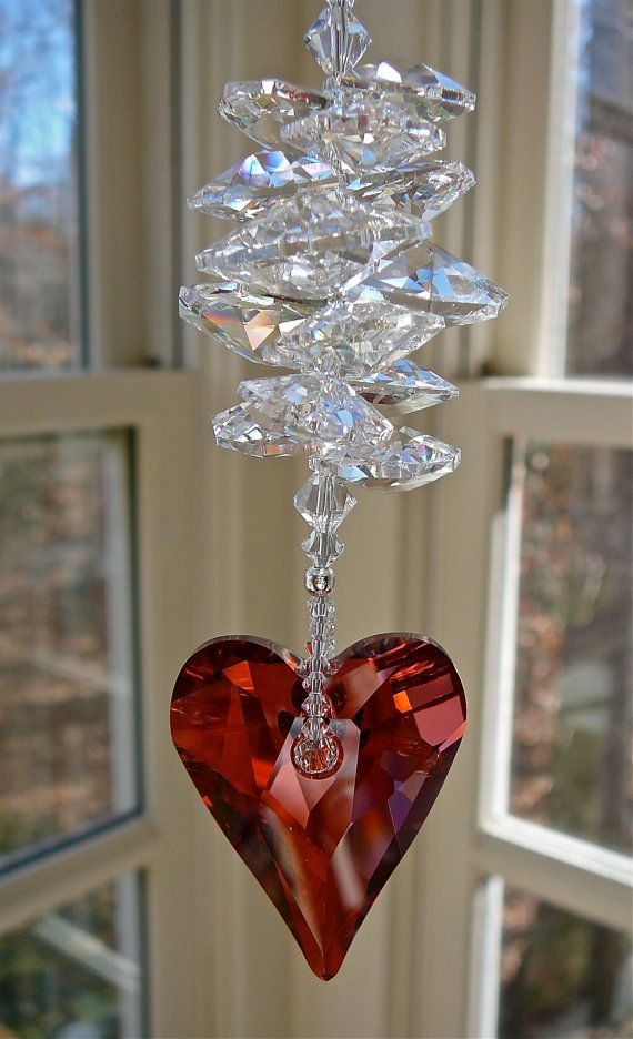 Theresa Red  9.5 Swarovski Crystal Heart by HeartstringsByMorgan, $33.00