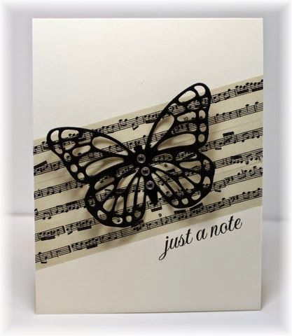 just a 'note' washi tape butterfly CAS card by Becky: