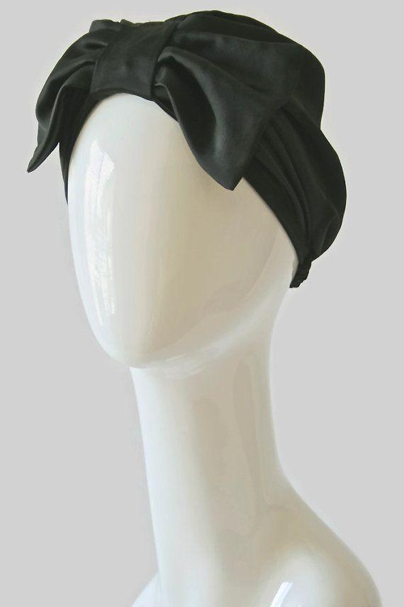 Bow disquette noir Satin Turban Fashion Turban par MandyTangerine