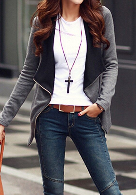 Grey-Black Patchwork Zipper Long Sleeve Fashion Coat