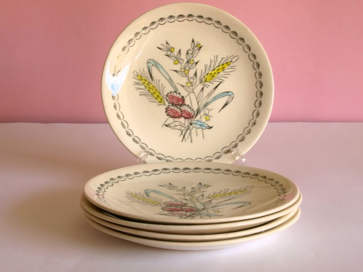 Vintage Rare Broadhurst hand painted Harvest Dinnerware Four Person Set - Design by Kathie Winkle - 60s Dinner Set - Made in England by FunkyKoala on Etsy