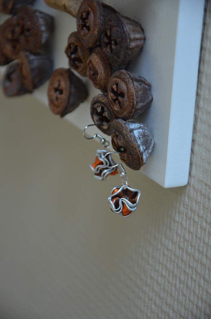Boucles d'oreilles boules orange en Capsules Nespresso - L. et ses p'tites mains