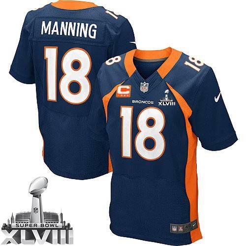 on sale 8b579 503d6 ... Super Bowl (Elite Nike Mens Peyton Manning Navy Blue C Patch Jersey) Denver  Broncos Alternate NFL .