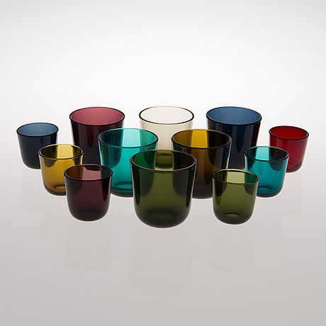 KAJ FRANCK, A set of 12 glasses in two different sizes, model 5023, Nuutajärvi Finland 1953-68.♥♥