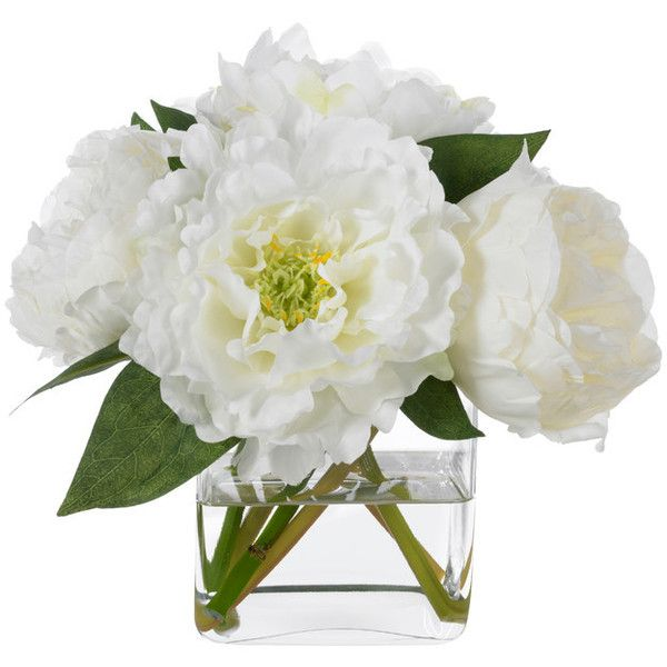 Diane James Classic White Peonies - Transitional - Artificial Flower... ❤ liked on Polyvore featuring home, home decor, floral decor, diane james, fake peony arrangement, white silk flowers, peony artificial flowers and transitional home decor