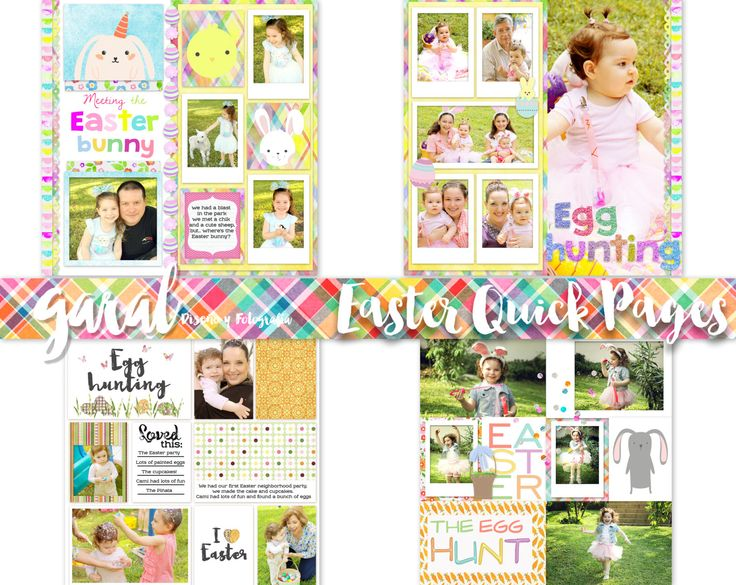 Easter Templates, Quick Pages, Digital Scrapbook, Easter Quick Pages, PNG, ready for photos, Photography, Spring Overlays, Easter Overlays by marcegaral on Etsy