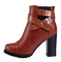 Laikakingdom Women's Fashion Rough High Heels Shoes For Women(6 B(M) US, Brown)