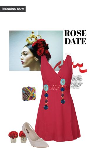 'Rose Date' by me on Limeroad featuring Beige Pumps, Solids Red Dresses with Gold Earrings
