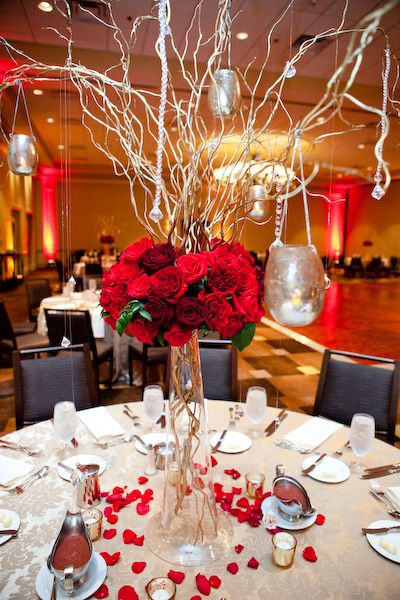 reception tables with rose petals under the glass | Toni and Marvin's Wedding: Harvey Design, Event and Floral Design ...